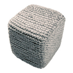 """Scandinavian Nata Gray Pouf, 16"""" x 18"""" - Each overscale stitch in the wool-blend cover of the Scandinavian Nata Gray Pouf evokes the crafted, cultural feel of chunky knits and the security of a wintry home even in the height of summer. This cube-shaped footstool, seat, or accent adds a sense of graceful practicality to the bedroom or living room and brings out the heathered tones of other neutral greys."""