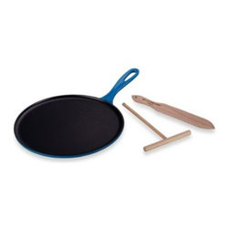Le Creuset - Le Creuset 10.75-Inch Cast Iron Crepe Pan in Marseilles - With its flat, low-edged design and satin black-enameled cooking surface, this authentic French-inspired crepe pan boasts even heat distribution and excellent heat retention to produce light, thin and perfectly browned crepes and pancakes.