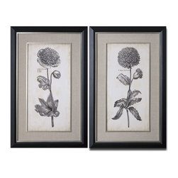 Uttermost - Uttermost Singular Beauty 32x50 Wall Art I, II (Set of 2) - Prints are accented by sandy gray linen mats. Frames have a black satin outer edge while the inner edges and fillets are silver leaf with light antiquing. Prints are under glass.