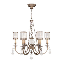 Fine Art Lamps - Eaton Place Silver Chandelier, 584240-2ST - Dazzling yet dignified, this chandelier harkens back to Edwardian times. Let its muted silver-leaf finish, faceted crystal shades and brilliant pendant accents lend a lordly touch to your favorite formal setting.