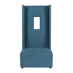 """Howard Elliott Mojo Turquoise High Ball Chair - Our High Ball Chair is bold and contemporary! It features hand crafted faux suede upholstery and an exaggerated high back with a window cut out right in the frame! But don't let the straight back fool you, this chair is incredibly comfortable. Seat height 18"""" - Seat depth 26"""" - COM options available"""