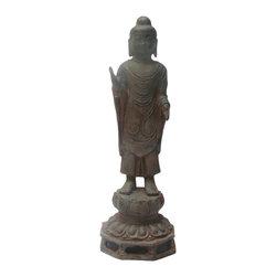 "Golden Lotus - Chinese Rustic Iron Lotus Base Standing Buddha Statue - Dimensions:   Dia 7.5""x  h23"""