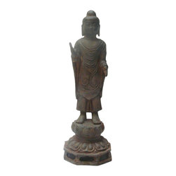 "Golden Lotus - Chinese Rustic Iron Lotus Base Standing Buddha Statue - Dimensions:   Dia 7.5""x  h23"""