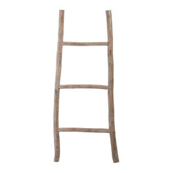 Lazy Susan - Lazy Susan 594038 Wood White Washed Ladder - Small - Step up your decorating game with this fun and functional ladder. It's handcrafted of tanoak wood with a light distressed finish that makes it rustic and refined. It's great for hanging towels or throws — or elevating an otherwise bland corner.