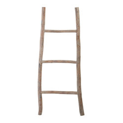 Lazy Susan - Wood White Washed Ladder-Small - Step up your decorating game with this fun and functional ladder. It's handcrafted of tanoak wood with a light distressed finish that makes it rustic and refined. It's great for hanging towels or throws — or elevating an otherwise bland corner.