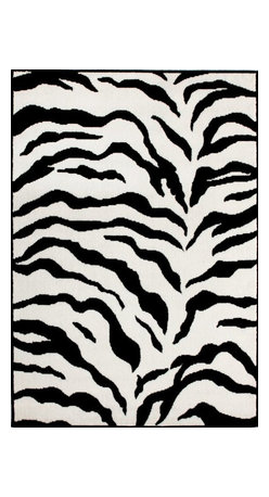 nuLOOM - Animal Prints 6' Round White and Black Machine Made Area Rug Contemporary Zebra - Made from the finest materials in the world and with the uttermost care, our rugs are a great addition to your home.