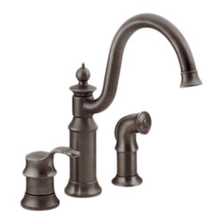 "Moen - Moen S711ORB Waterhill 1-Handle High-Arc Bar Faucet w/Spray (Oil-Rubbed Bronze) - Moen's 711ORB is part of the Waterhill collection. Moen's 711ORB has an Oil Rubbed Bronze finish. Moen's 711ORB is a new style high Arc Bar Faucet with convenient side spray. Moen's 711ORB 3-hole 4"" Center installation has 9 3/8"" long and 12 1/4"" high arc spout, with a full 8 1/2"" from deck to aerator. Moen's 711ORB single lever handle provides ease of operation. Moen's 711ORB has 1/2"" IPS connections and will accept standard ball nose connections for 3/8"" tubing. Includes hot and cold indicators, and has Hydrolock quick connect installation. The Waterhill collection carries an intricate charm that will instantly add character complementing a nostalgic decor and enriching your homes necessary space. Oil Rubbed Bronze is an exclusive finish from Moen and provides style and durability. Moen's 711ORB metal lever handles meets all requirements ofADA ASME A112.18.1/CSA B125.1, NSF 61/9. Proposition 65, Lifetime Limited Warranty."