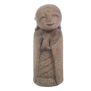 Repose Home - Namaste Jizo, Stone Grey - Jizo is the great and beloved protector of women, children and travelers. Although Jizo appears in many different forms, our version depicts him in Namaste pose. Jizo's warm and smiling presence will welcome guests into your home. Cast in rich, antique brown volcanic ash and weatherproofed for indoor or outdoor use.