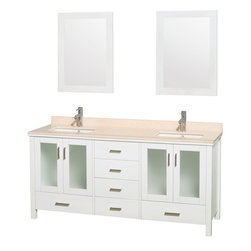 "Wyndham Collection - Lucy Vanity in White, Ivory Marble Top, UM Sq White Porcelain Sink, 24"" Mirrors - The Lucy double bathroom vanity by Wyndham Collection is as beautiful as it is functional. The modern design puts a visual emphasis on clean lines, luxurious natural marble, abundant storage for two, and is at home in almost every bathroom decor. Included in the Lucy double bathroom vanity are either solid White Carrera Marble or Ivory Marble counters, a multitude of sink options, and a pair of matching mirrors. Featuring soft-close door hinges, you'll never hear a door slam shut again! Sure to inspire imitators, the original Wyndham Collection sets new standards for design and construction."