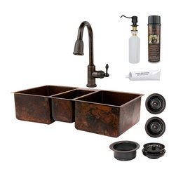 Premier Copper Products - Premier Copper Products KSP2 KTDB422210 3 Basins Drop In/Undermount Sink with Fa - Shop for Kitchen from Hayneedle.com! The Premier Copper Products KSP2_KTDB422210 3 Basins Drop In/Undermount Sink with Faucet provides a partitioned triple-basin sink with a beautiful traditional look bringing a refined air to any decor. Each of the deep rectangular basins features a center-justified drain opening and a dimpled texture detailing its interior surface. The left and right basin are the same size (Dimensions (each): 15L x 20W x 10D inches) with a smaller basin in between separated by a 1-inch divider on each side (Dimensions: 8L x 17W x 8D inches). The sink is hand-hammered into shape from thick 14-gauge recycled copper and features a handsome oil-rubbed bronze patina to protect the surface from tarnish corrosion and scratches. The unit installs easily into drop-in or undermounted countertops. Also included are: color-matched silicone caulk; copper wax/cleaner; a garbage disposal drain (with basket strainer); two kitchen sink basket strainers; a solid brass soap/lotion dispenser; a single-hole goose-neck kitchen faucet (with a single lever handle and extendable spout) made from brass with a matching bronze finish. A standard 3.5-inch drain connection lets you add this into nearly any standard US plumbing assembly.About Premier Copper ProductsBased in Phoenix Ariz. Premier Copper Products imports individually hand-crafted artisan copper products from Mexico. Competitively priced and environmentally sound this unique line of sinks and accessories includes a full range of drain selections and specially made silicone caulk that s color-matched and nonreactive and every product meets rigorous quality-control standards.