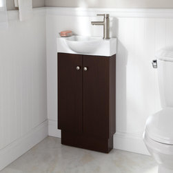 """18"""" Utica Vanity - Wenge - The Utica Vanity is perfect for diminutive bathrooms thanks to its smart, compact design featuring a ceramic sink."""