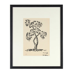 Lost Art Salon - 1963 Original Framed Ink Tree Study - The twists and turns of the tree that stars in this ink on paper drawing will draw your eye with its simplicity and style. Drawn in 1963 by the artist Schiele, this piece will stand out on your wall with its glorious minimalism.