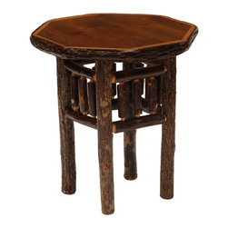 Fireside Lodge Furniture - Hickory Octagon Log End Table (Traditional) - Finish: TraditionalHickory Collection. All hickory logs are bark on and kiln dried to a specific moisture content. Individually hand crafted. Clear coat catalyzed lacquer finish for extra durability. Pictured in Espresso finish. 2-Year limited warranty. 22 in. W x 22 in. D x 24 in. H (50 lbs.)