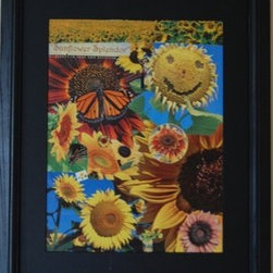 Sunflower Splendor (Original) by Kathleen Fallucca - Sunflower Splendor was created in February 2014 in response to the SUN ART theme of Art Challenge Gallery.  This is my second year participating in SUN ART. Last year I submitted a close up digital photograph of a sunflower.  I have been working primarily in collages over the past year and a half for ACG as well as the physical gallery I exhibit in.  This collage is my submission this year after needing a year to college sunflower pictures.
