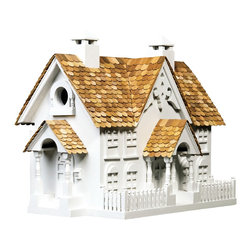 Home Bazaar - Wrension Birdhouse - Wren-ovate your backyard with a birdhouse designed especially to attract these small but strong-voiced passerines. From its charming chimneys to its pretty picket fence, this classic country home will look lovely wherever you place it, and it's built to last of western red cedar and kiln-dried pine.