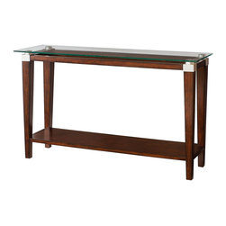"""Hammary - Solitaire Sofa Table - This collection has an urban contemporary styling with architectural elements that give it a clean and sophisticated feel. Crafted of Select Hardwood Solids & Quartered Oak Veneers in a Dark Brown Finish with Metal & Glass accents.. Solitaire Sofa Table; Glass Top; Fixed Shelf; Dimensions: 50""""W x 18""""D x 30""""H"""