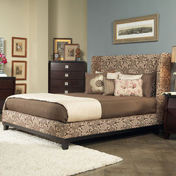 ANGELOHOME - angelo:HOME Marlowe King-size Coffee and Cream Floral Fabric Shelter Bed - Crafted from solid mahogany wood and Wendy Pepper fabric, the Marlowe king-size shelter bed has four slats and six leg supports with luxurious padded upholstery. Metal to metal rail fittings ensure easy assembly and durability.
