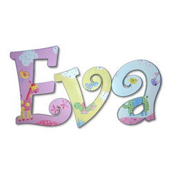 RR - Eva Jungle Luv Hand Painted Wooden Hanging Wall Letters - Jungle Luv Hand Painted Wooden Hanging Wall Letters