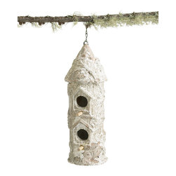 Birdhouse Tall with Bark - Finished with a soft, rustic variation on faux bois, the Tall Birdhouse with Bark brings an attractive look of age to your garden while still serving as a sturdy home for avian visitors. This column-shaped double birdhouse hangs from a chain at the peak of its conical roof, lastingly secured to the terra cotta body of this charming transitional garden artifact. Try it in a sunroom to bring the outdoors in.