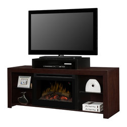 Dimplex Beasley Electric Fireplace Media Console in Walnut - GDS25L-1441KN - Have a place for all your media components and still have room for your DVD library or favorite collectibles. The Beasley Electric Fireplace Media Console in Walnut is a contemporary design with an open concept and clean lines. The elevated central shelf lifts your TV higher off the unit while providing the perfect space for housing your cable box or DVD player. The two open side shelving units are perfect for displaying your media library or your favorite photos & collectibles. The Beasley delicately balances form with function for a stunning focal point for your family or media room. The central feature of this unit is the realistic firebox, featuring LED lit, inner glowing logs an dancing flames that appear to rise up from within the logs. The look of a real fire isn't the only trick up this unit's sleeve, it also feel like a real fire as well. The fan-forced heater is fully capable of producing supplemental heat for areas up to 400 Sq. Ft. with 4777 BTUs. Easily set the desired temperature of the heater using the included remote control and receive visual confirmation from the on-screen digital display. Set the stage for the perfect night of watching your favorite TV show, movie or sports game with the Beasley Electric Fireplace Media Console.