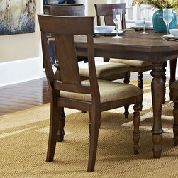 Homelegance - Homelegance Maribelle Side Chair w/ Beige Fabric Seat in Warm Brown - Inspired by elements of nature and femininity, the design of the Maribelle Collection provides a look that will accentuate the modern country aesthetic of your dining room. Table features hand scraped top, and each seat of the coordinating chairs is covered in beige fabric. The coordinating server has drawers, lower shelf and glass fronted cabinets, providing ample space to display and store your tabletop accessories. A warm brown finish serves to highlight the natural contours of the collection and turned legs provide support in this classic collection. - 5024S.  Product features: Maribelle Collection; Cottage Style; Beige Fabric Seat; Warm Brown Finish. Product includes: Side Chair (1). Side Chair w/ Beige Fabric Seat in Warm Brown belongs to Maribelle Collection by Homelegance.