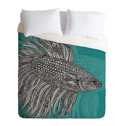 DENY Designs - DENY Designs Valentina Ramos Beta Fish Duvet Cover - Lightweight - Turn your basic, boring down comforter into the super stylish focal point of your bedroom. Our Lightweight Duvet is made from an ultra soft, lightweight woven polyester, ivory-colored top with a 100% polyester, ivory-colored bottom. They include a hidden zipper with interior corner ties to secure your comforter. It is comfy, fade-resistant, machine washable and custom printed for each and every customer. If you're looking for a heavier duvet option, be sure to check out our Luxe Duvets!