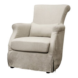 Wholesale Interiors - Carradine Beige Linen Slipcover Modern Club Chair - Chic and comfortable, the Carradine Chair is a sophisticated addition as an accent chair in a living room, lounge chair in a bedroom, or even an end chair at a dining table. It is solidly constructed with a wood frame, foam cushioning, and a removable beige linen slipcover, featuring a unique lace-up back. A small pillow is included with a removable fabric cover. The chair is finished with black legs and non-marking feet, which must be attached after delivery.