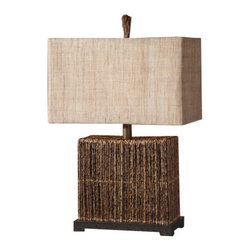 Uttermost - Uttermost 27994-1 Natural Palm Body Lamp Barbuda Collection - Uttermost 27994-1 Billy Moon Barbuda Table LampNatural palm branches strung together with woven rattan accented with a rustic bronze foot. The rectangle box shade is burlap textile with natural slubbing.Features: