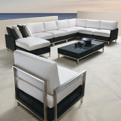 Lloyd Flanders Elements Collection Sectional and Chair - Lloyd Flanders Elements Collection Sectional - contemporary lounging for every outdoor space.