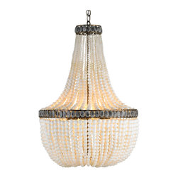 Kathy Kuo Home - Cream Beaded Coastal Beach 3 Light Chandelier - With a pearly, feminine attitude and a classic swag silhouette, this beauty has an earthy side too.  Gray metal edges stamped with abstract designs bring a spare utility to the look, balancing the industrial and girly.  Perfect.