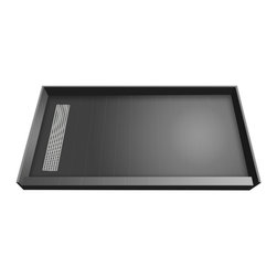 Tileredi - TileRedi RT4248L-PVC-SQBN 42x48 Single Curb Pan L Trench - TileRedi RT4248L-PVC-SQBN 42 inch D x 48 inch W, fully Integrated Shower Pan, with Left PVC Trench Drain, 31.36 inch Square Design Grate, Brushed Nickel finish