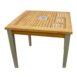 Classic Teak - Bristol Square Teak Table - The bristol dining table is the unique combination of natural beauty and modern sensibility. This is a high quality small aluminum teak dining table for small patios or decks. You can select two or four chairs to make a beautiful custom table set for dining or game of cards. Our range of Elena chairs are a perfect match for making a set for seating four people. This is also suitable for commercial places like restaurant deck. A grade teak and top quality aluminum is used for constructing this table.