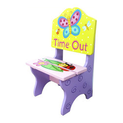 Teamson Design - Fantasy Fields Hand Painted Magic Garden Time Out Chair - Teamson Design - Kids Chairs - TD0092A - Relax in a garden of imagination with Teamsons Magic Garden Time Out Chair. The perfect place to sit back relax and marvel in natures beauty this easy to assemble wooden chair is sure to be a hit with the little ones. A friendly colorful butterfly floats about on the backing of the chair while a lovely ladybug and playful flower rest on the seat. Hand painted and hand carved this unique creation features an array of vivid purples yellows pinks and an imagination boost for all! Perfect for ages 3 and up