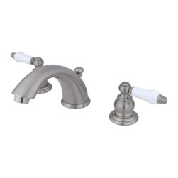 """Kingston Brass - Two Handle 4"""" to 8"""" Mini Widespread Lavatory Faucet with Retail Pop-up KB968PL - Two Handle Deck Mount, 3 Hole Sink Application, 4"""" to 8"""" Widespread, Fabricated from solid brass material for durability and reliability, Premium color finish resists tarnishing and corrosion, 1/4 turn On/Off water control mechanism, 1/2"""" IPS male threaded inlets with rigid copper piping, Duraseal washerless cartridge, 2.2 GPM (8.3 LPM) Max at 60 PSI, Integrated removable aerator, 5-3/4"""" spout reach from faucet body, 4"""" overall height.. Manufacturer: Kingston Brass. Model: KB968PL. UPC: 663370118845. Product Name: Two Handle 4"""" to 8"""" Mini Widespread Lavatory Faucet with Retail Pop-up. Collection / Series: Magellan. Finish: Satin Nickel. Theme: Classic. Material: Brass. Type: Faucet. Features: Drip-free washerless cartridge system"""