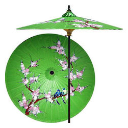 "Oriental-Décor - Song Birds (Meadow Green) - This artistic and colorful patio umbrella was inspired by the same design from one of our hand-held fashion umbrellas. It features a pair of song birds sitting on the branch of a blossom tree. Painted on an all-green shade, this bright and cheerful outdoor patio umbrella is sure to uplift all those who see it. Place it anywhere in your yard, patio or outdoor area for a superb decorative touch.   - 7 foot umbrella pole constructed of rich stained oak hardwood.  - Each umbrella is entirely handcrafted down to the finest detail.  - Oil-treated cotton umbrella shades are all hand-painted by our master artists.  - Dual position shade height allows for full coverage or a better view of the painted shade.  - Waterproof and weatherproof.  - Two-piece pole fastens securely with a polished metal coupling.  - Pole diameter of 1.5"" easily fits into any standard size umbrella base or table.  - Optional umbrella base available - handcrafted from stained oak hardwood."