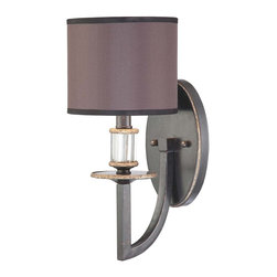 Savoy House - Modern Royal 1-Light Sconce - The arm, curving down from the mount, is just one of the eye-catching elements in this unique wall sconce. The arm jets up to hold the fixture base and shade, revealing a delightful mix of traditional and modern.