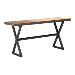 "Zentique - Zentique Dietmar Rustique Recycled Metal Console - Industrial and rustic style fuse to create the contemporary Zentique Dietmar Rustique console. A textured oak tabletop meets criss-cross recycled metal legs for an intriguing contrast. 60""W x 20""D x 29.5""H; Gray oak"