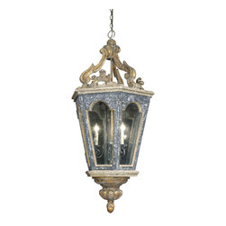 Bruges Lantern  Three-Way Candelabra - Dark, heavy construction; ornate golden detailing; and titanic size make this old-world hanging pendant light a breathtaking reminder of medieval Europe, suggesting a treasured artifact regardless of the setting it is featured in.  A three-way candelabra inside fits into its single standard socket; the wiring for this electric designer lantern is threaded through its chain to run through the scrollwork that adorns the top.