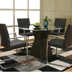 Cramco - Cramco Virgo 5-Piece Dining Set - Dark Brown - F5787-42-50-06-12 - Shop for Dining Sets from Hayneedle.com! All the elements combine to form the perfect modern dining experience in the Cramco Virgo 5-Piece Dining Set - Dark Brown. The dark brown acrylic hourglass-shaped base displays a round glass tabletop. Four sleek dark brown Breuer chairs are upholstered in polyester and accented with chrome completing the look and feel of contemporary comfort and style. About Cramco Inc. Cramco Inc. has been a leading producer of casual dining sets since its humble beginnings in 1949 as a one man operation in a single car garage. Today the family owned business has expanded its cutting edge styles to include mixed-media materials handcrafted multi-finish metal multiple glass edges marble slate and wood. Cramco has always treated service as their top priority and it shows making them the value leader in casual dining since 1949. Please note this product does not ship to Pennsylvania.