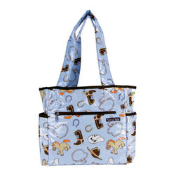 """Trend Lab - Diaper Bag - Cowboy Baby Tulip Tote - Hit the road equipped and in style with this Cowboy Baby Tote Bag by Trend Lab. Laminated bag features a cowboy themed scatter print in powder blue, desert sand, chocolate brown, cream and touches of burnt orange and dusk blue throughout the outside body with a chocolate, powder blue and desert sand bandana print inside. Outside of the bag has two side bottle pockets, a front zippered pocket and a wide Velcro closure pocket on the back. Inside, four pockets and large mesh divider keep all your travel necessities organized. Snap closure keeps inside contents secure. Removable, coordinating changing pad included. Bag measures 14"""" x 12"""" x 6"""" with 22"""" straps."""