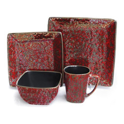 American Atelier - American Atelier Mojava Red Square 16 Piece Dinnerware Set - 5656-16 - Shop for Sets from Hayneedle.com! The American Atelier Mojave Red Square 16 Piece Dinnerware Set features gorgeous embossed detailing on every piece for a distinctive look and rich texture. This beautiful collection of dark red stoneware includes 4 bowls 4 mugs 4 salad plates and 4 dinner plates that boast 100% dishwasher- and microwave-safe craftsmanship.Set Includes:Dinner Plate Dimensions: 10.5 inchesSalad Plate Dimensions: 8.5 inchesBowl Dimensions: 5.7 inches