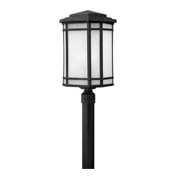 Hinkley Lighting - Hinkley Lighting Cherry Creek LED Transitional Outdoor Post Lantern X-KV1721 - Clean lines make for a handsome look on this mission inspired Hinkley Lighting outdoor post lantern. From the Cherry Creek Collection, this cast aluminum LED outdoor lighting fixture comes finished in a crisp Vintage Black hue that stands out against the white linen glass window panes.