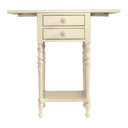 Stanley Furniture - Coastal Living Cottage Chesapeake Table (Shell) - Finish: Shell. Two drawers. One stationary shelf. Made from maple and select hardwood solids, maple veneer, simulated wood components. Dimension with both wings down: 16.69 in. W. 29 in. W x 22 in. D x 28 in. H (50 lbs.)