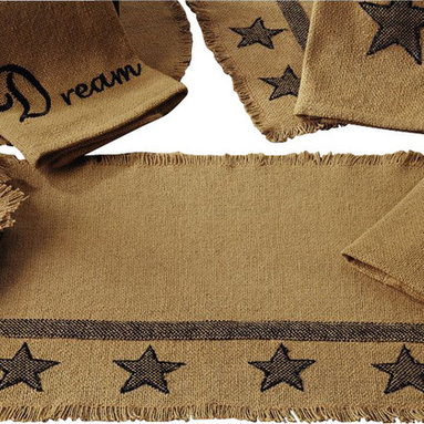 India Home Fashions - Burlap Table Runner, Natural, 13x36, Burlap Star - This Burlap Table Runner is available in a 13x36 or 13x54 and is the perfect way to complete any table setting. Natural Burlap looks great with any type of home decor and also coordinates with the new Burlap Star and Burlap Check home decor lines from India Home Fashions. Perfect for smaller tables.