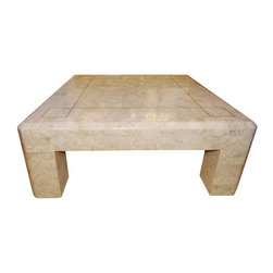 Pre-owned Maitland-Smith Tessellated Stone Coffee Table - A tessellated stone coffee table with blunt edges and thin brass inlay, for added glamour. This solid, stately table is  attributed to Maitland-Smith and is in excellent vintage condition.
