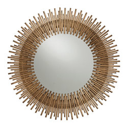 Prescott Antiqued Gold Leaf Round Iron Mirror - Three sizes of rays create a stunning circular starburst design that sings with contemporary verve. The antique gold-leaf finish provides a glamorous quotient for even more style and presence. Vintage soul married to modern stylings makes this mirror the prettiest of them all.