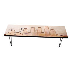 Urban Wood Goods - Los Angeles Reclaimed Wood Console Table - Metro Liner. The city skyline of Los Angeles is engraved in lines that run the length of this unique console, the top of which is actually a single plank of century-old reclaimed wood. Other municipal services? It's spacious enough to collect all the detritus of the day easily, ready for your retrieval.