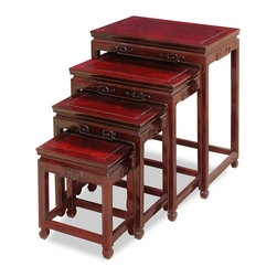 "China Furniture and Arts - Rosewood Ming Nesting Tables - Exhibiting its pleasing simple lines in a distinct Ming (1368-1644) style, this exquisite set of four nested tables can be used individually or to the delight of your own artistic arrangement. Each table is further decorated with elegant Chinese Key carvings. Completely handmade in solid rosewood by artisans in China, using the traditional joinery technique. Hand applied rich dark cherry finish. (20""x14""x26"", 17""x12""x22"", 14""x10""x18"", 11""x8""x14"")"