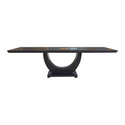 """SHERES - Lauren Dining Table, Wenge - Beautiful, sophisticated, and timeless.  This is Greg's best selling dining table ever.   The lovely """"Zen"""" curved base supports a thick top with reverse radius ends and an inset glass in the center.  This is an original design by award winning designer Greg Sheres.  This table is available in Wenge or Walnut finish.  Open size is 115"""" x 43"""".  Closed size is 79"""" x 43"""".  Ships in wood crate."""