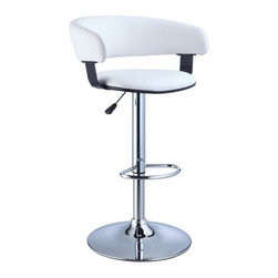 """Powell - Faux Leather Adjustable Height Bar Stool in White - The Barrel Back Bar Stool is all about style and comfort. A luxurious plush seat is upholstered in a rich white faux leather, while a plush curved seat back provides added comfort. Finished with a versatile chrome, this piece is an easy addition to any kitchen, bar or dining area. Features: -White faux leather seat. -Chrome frame. -Stylish and functional. -Height adjustable seat with gas lift. -BIFMA 5.1 and EN1335 standard testing passed and approved. Dimensions: -Seat height: 22"""" - 31.5"""". -34.63"""" - 41"""" H x 22.5"""" W x 19.63"""" D,26 lbs. -Weight capacity: 300 lbs."""